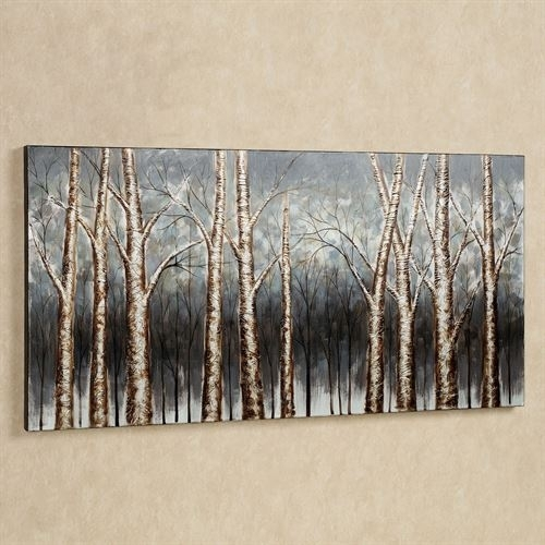 Aspen Tree Grove Handpainted Canvas Art With Regard To Hand Painted Canvas Wall Art (Image 3 of 15)