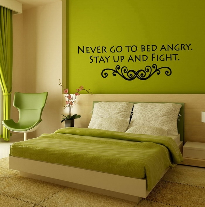 Astounding Green Bedroom Accent Wall Design Plus Nice Qoute In Green Room Wall Accents (Image 4 of 15)