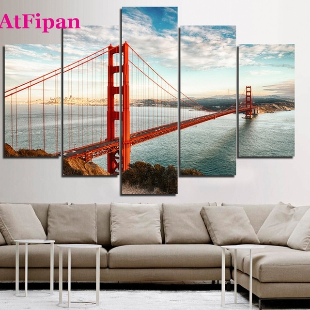 Atfipan Unframed California Sky Golden Gate Bridge Canvas Painting Pertaining To Golden Gate Bridge Canvas Wall Art (View 5 of 15)