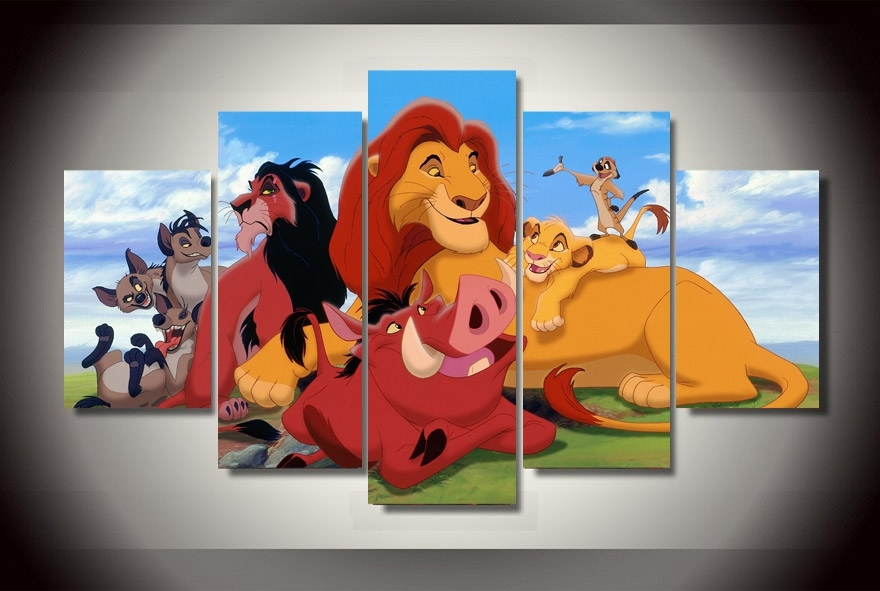 Atfipan Unframed Canvas Painting Cartoon The Lion King Poster Hd Regarding Lion King Canvas Wall Art (View 6 of 15)