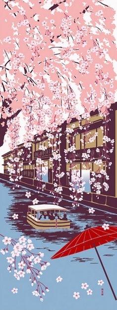 Autumn Decor, Japanese Tenugui Fabric, Maple, Japanese Silver Intended For Japanese Fabric Wall Art (Image 3 of 15)