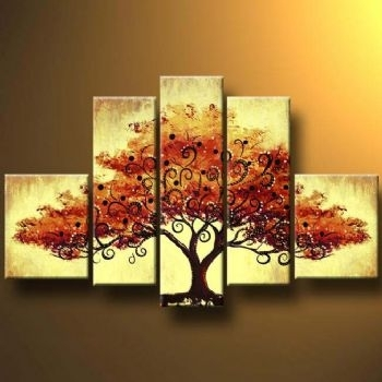 Autumn Tree Ii Modern Canvas Art Wall Decor Landscape Oil Painting Regarding Canvas Wall Art Of Trees (Image 2 of 15)