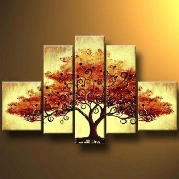 Autumn Tree Ii Modern Canvas Art Wall Decor Landscape Oil Painting Regarding Canvas Wall Art Of Trees (Image 2 of 15)