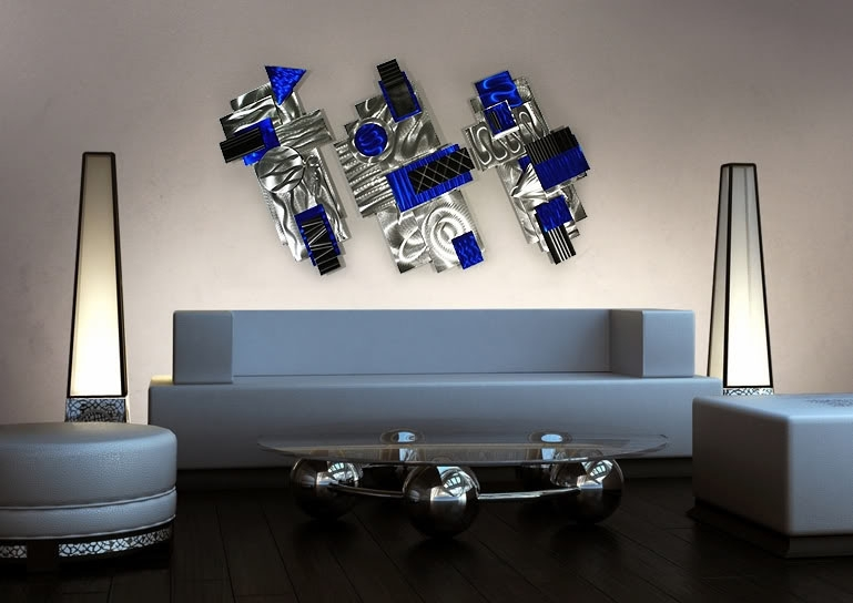 Aviator – Silver, Blue & Black Abstract 3D Metal Wall Art With Light Abstract Wall Art (Image 6 of 15)