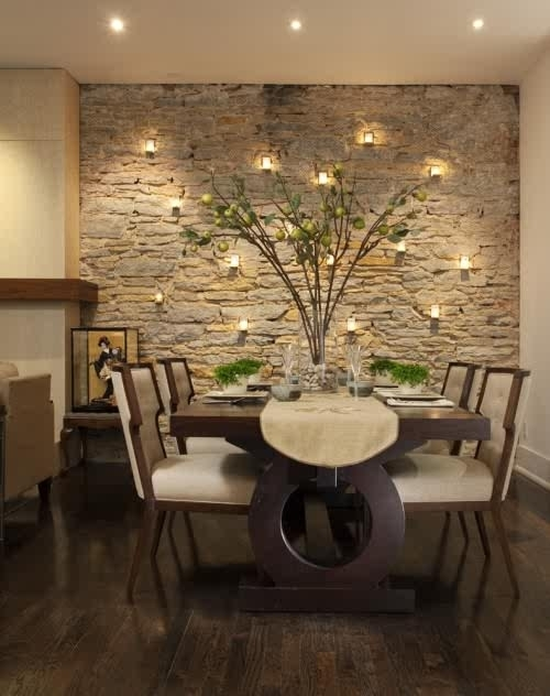 Awesome And Solid Brick Wall Living Room Design Ideas With Stone For Custom Wall Accents (Image 4 of 15)