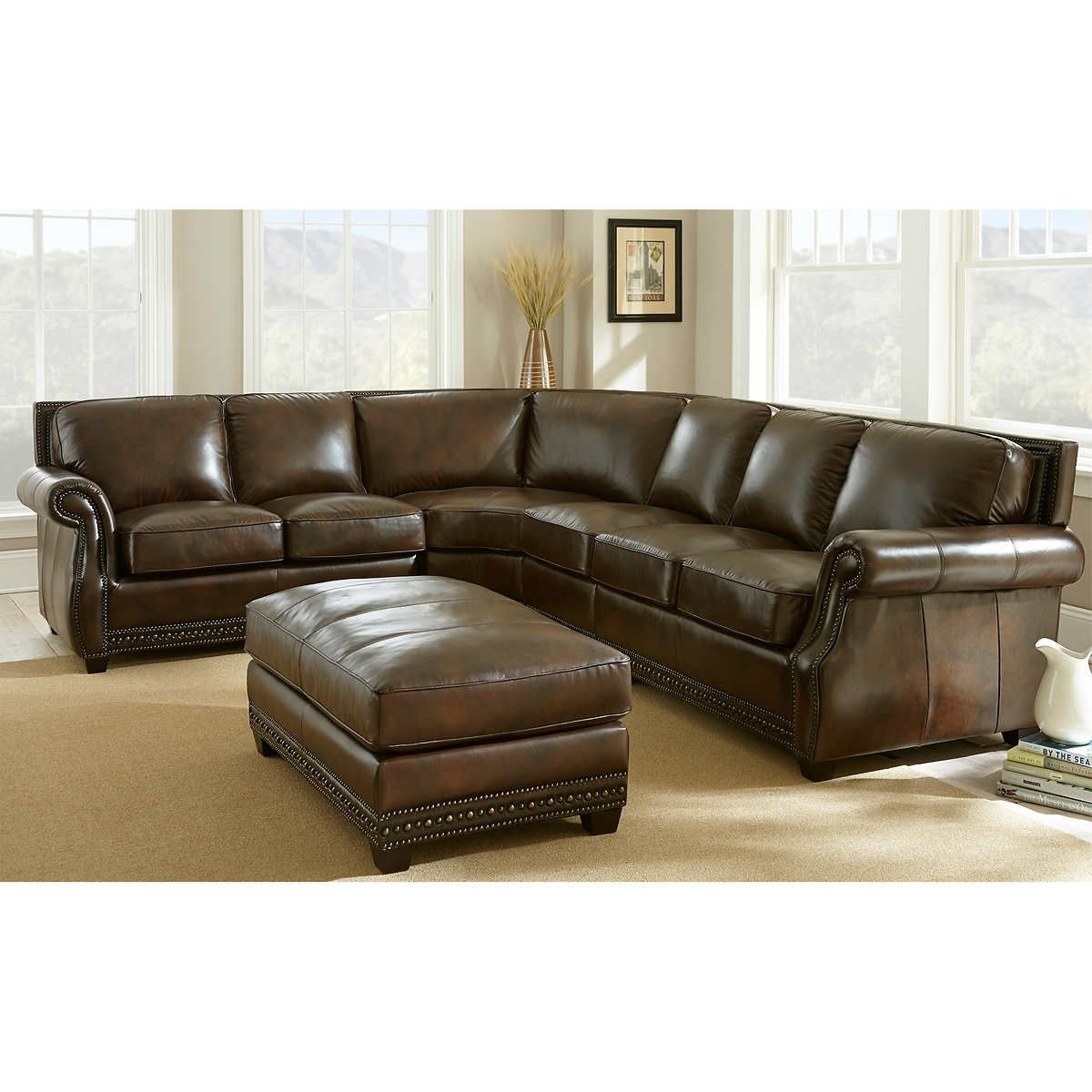 Awesome Leather Couch Sectional , New Leather Couch Sectional 64 Intended For Greenville Sc Sectional Sofas (Image 1 of 10)
