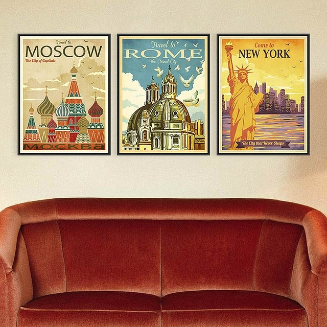 Azqsd Triptych Vintage City Art Prints Poster New York Rome Moscow With Canvas Wall Art Of Rome (View 9 of 15)