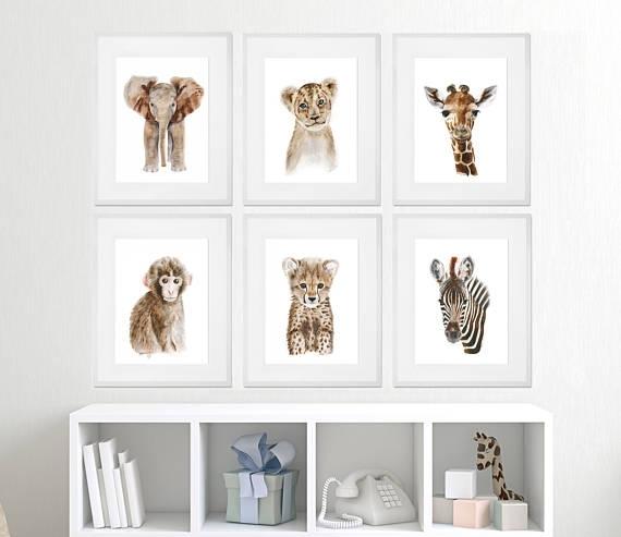 Baby Animal Framed Art Framed Nursery Prints Safari Regarding Framed Animal Art Prints (Image 2 of 15)