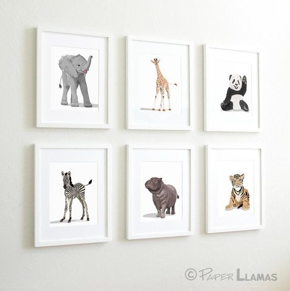 Baby Animal Nursery Art Prints, Modern Minimalist Nursery Decor Pertaining To Framed Animal Art Prints (View 6 of 15)