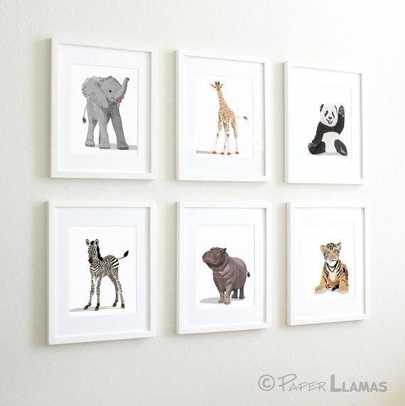 Baby Animal Nursery Art Prints, Modern Minimalist Nursery Decor Pertaining To Framed Animal Art Prints (Image 4 of 15)