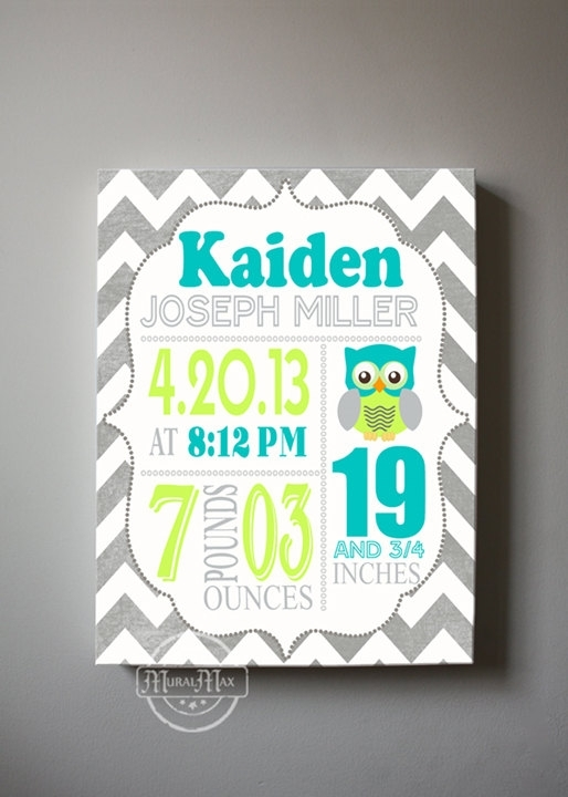 Baby Birth Announcement Canvas Print, Boys Nursery Canvas Art With Regard To Personalized Nursery Canvas Wall Art (View 5 of 15)