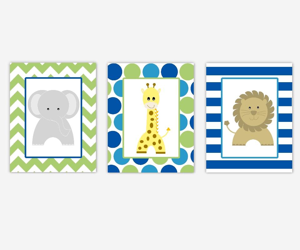 Baby Boys Canvas Nursery Wall Art Blue Green Elephant Giraffe Within Baby Room Canvas Wall Art (Image 1 of 15)