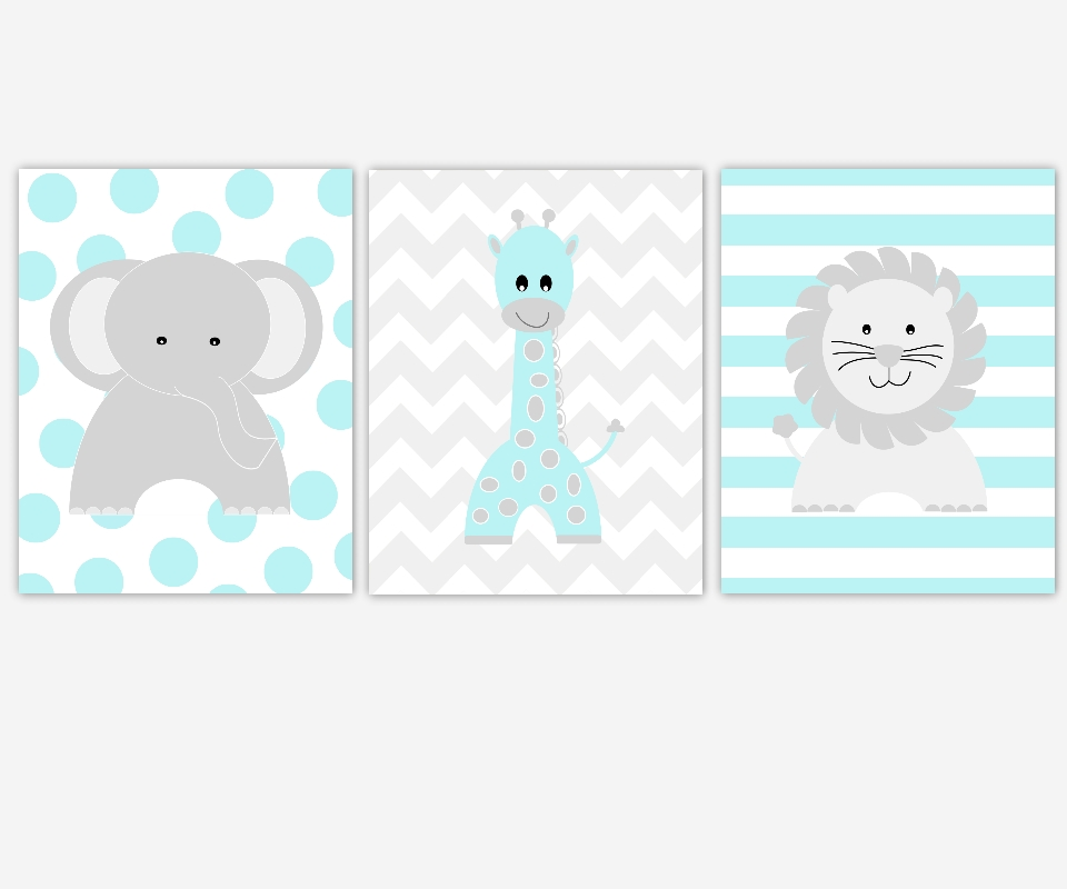 Baby Boys Canvas Nursery Wall Art Turquoise Gray Grey Elephant Inside Nursery Canvas Wall Art (View 14 of 15)