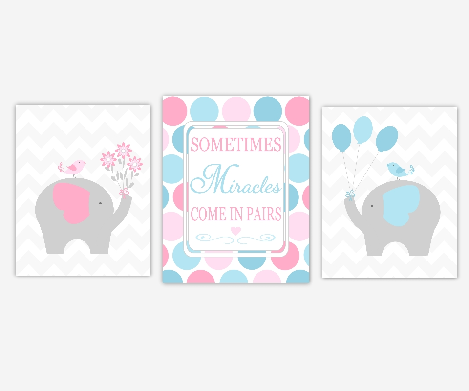 Baby Boys Girls Nursery Canvas Wall Art Pink Blue Elephant Love Within Nursery Canvas Wall Art (View 7 of 15)