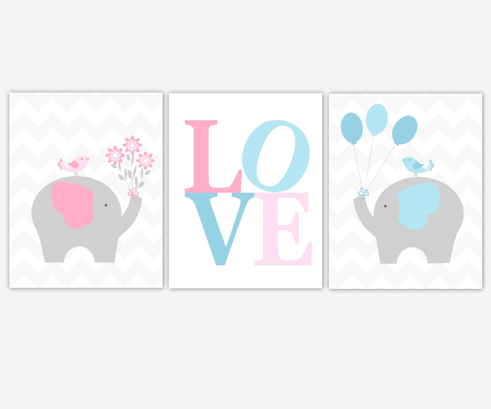 Baby Canvas Nursery Wall Art Pink Blue Gray Grey Elephant Love Within Baby Room Canvas Wall Art (View 14 of 15)
