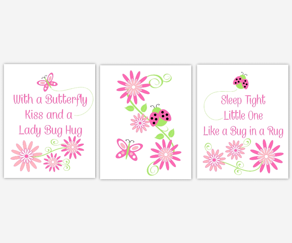 Baby Girls Canvas Nursery Wall Art Hot Pink Lime Green Butterfly In Girl Canvas Wall Art (Image 1 of 15)