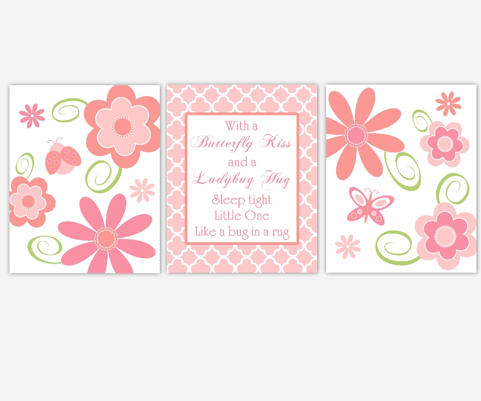 Baby Girls Canvas Nursery Wall Art Pink Coral Flowers Ladybug Within Girl Canvas Wall Art (Image 2 of 15)