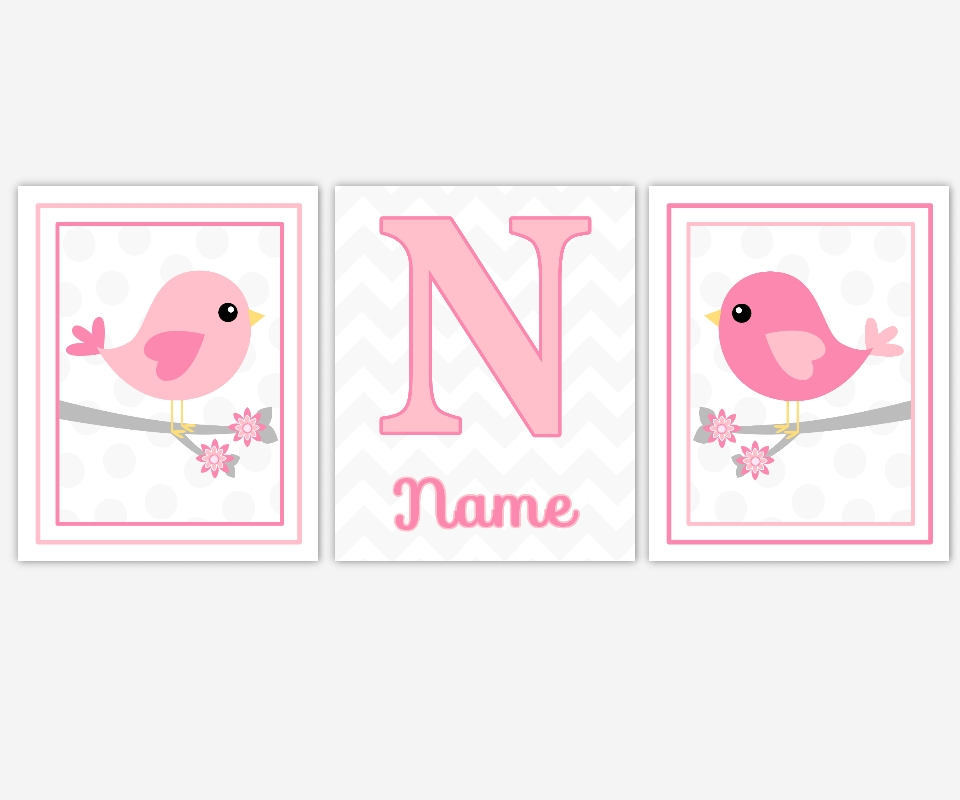 Baby Girls Canvas Nursery Wall Art Pink Gray Grey Birds Intended For Personalized Nursery Canvas Wall Art (View 7 of 15)