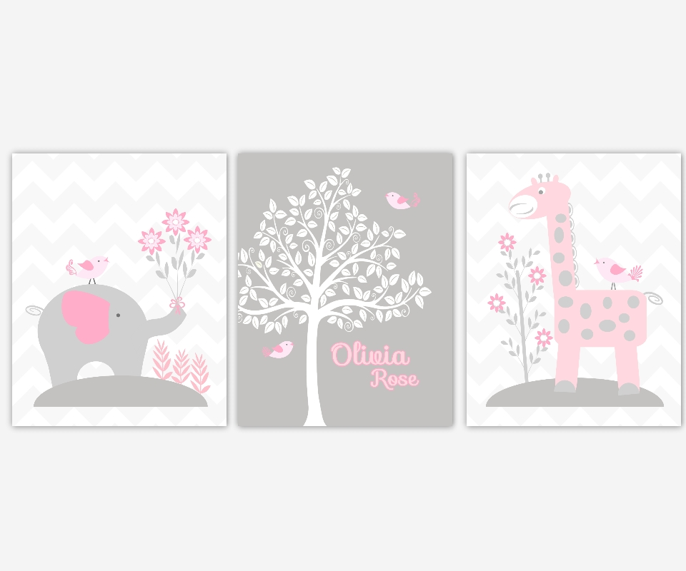 Baby Girls Canvas Nursery Wall Art Pink Gray Grey Elephant Giraffe Within Personalized Nursery Canvas Wall Art (View 8 of 15)
