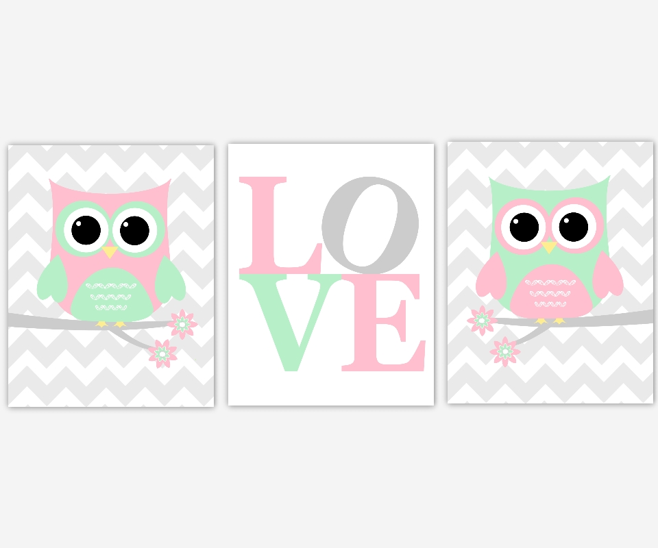 Baby Girls Canvas Nursery Wall Art Pink Green Gray Grey Owl Love With Regard To Nursery Canvas Wall Art (View 9 of 15)