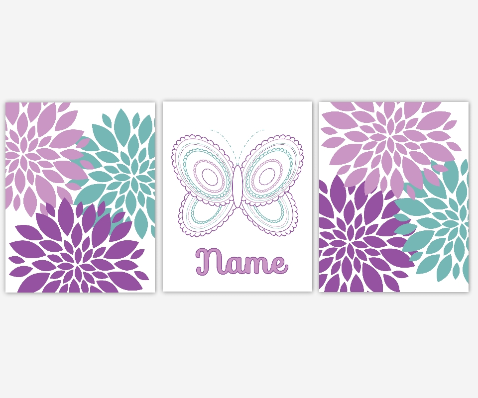 Baby Girls Canvas Nursery Wall Art Purple Lavender Teal Aqua For Butterflies Canvas Wall Art (Image 5 of 15)