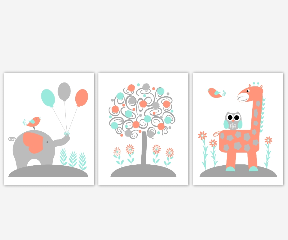 Baby Nursery Canvas Wall Art Coral Teal Aqua Gray Grey Elephant In Nursery Canvas Wall Art (Image 7 of 15)