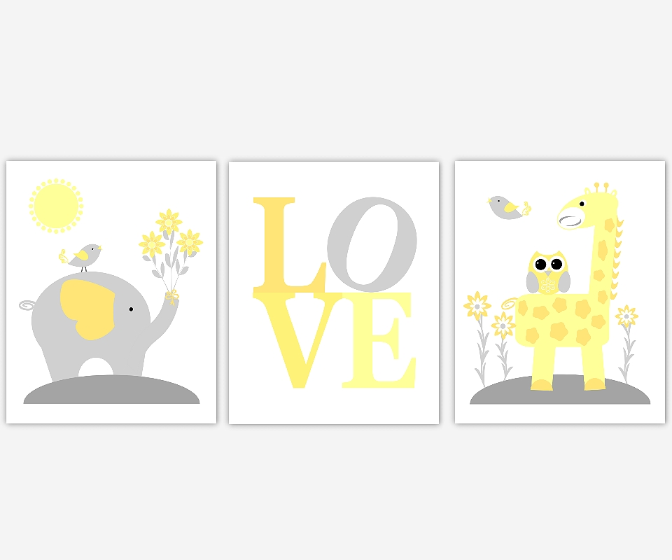 Baby Nursery Canvas Wall Art Yellow Gray Grey Elephant Giraffe Intended For Safari Canvas Wall Art (View 15 of 15)
