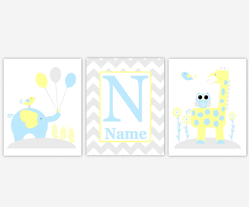 Baby Nursery Canvas Wall Art Yellow Teal Aqua Gray Grey Elephant Intended For Personalized Nursery Canvas Wall Art (View 13 of 15)