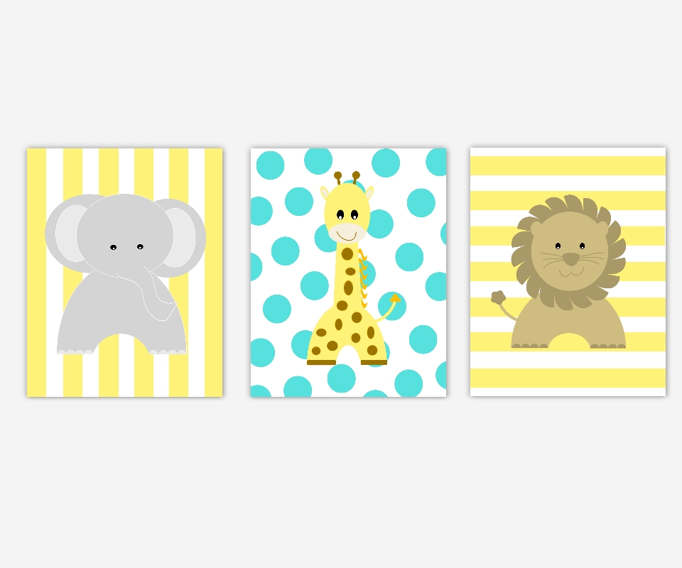 Baby Nursery Canvas Wall Art Yellow Turquoise Gray Grey Elephant Regarding Baby Room Canvas Wall Art (View 9 of 15)