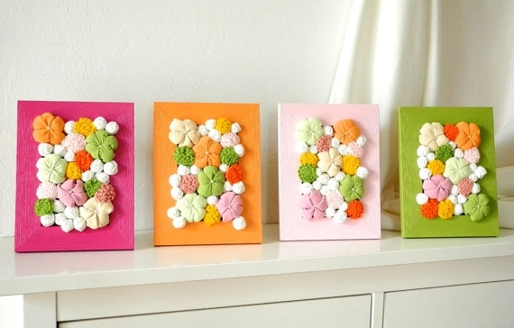 Baby Room Decor With Fabric Flower Wall Art 3D Design Set Of 4Pcs Within Baby Fabric Wall Art (Image 3 of 15)