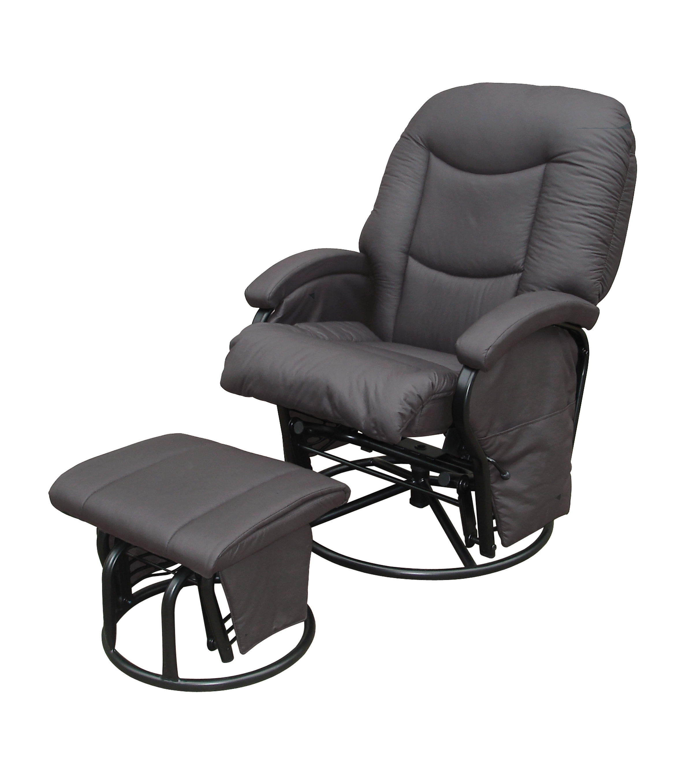 Babylo Cloud Nine Glider Nursing Chair + Ottoman Slate Grey – Tiny Toes Within Chairs With Ottoman (View 3 of 10)