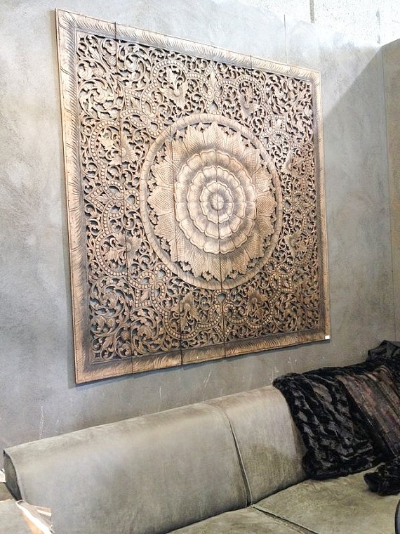 Balinese Wall Decor, Carved Wood Wall Art Panel, Wall Hanging Throughout Wood Paneling Wall Accents (View 12 of 15)