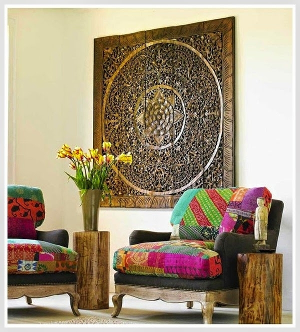 Balinese Wood Wall Art – Found On Etsy Shop Siam Sawadee (Https With Asian Wall Accents (View 15 of 15)