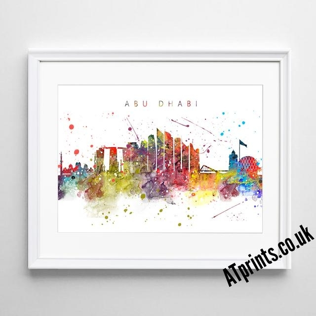 Barcelona Skyline Map Print Poster Watercolour Framed Canvas Wall Inside Newcastle Canvas Wall Art (View 14 of 15)