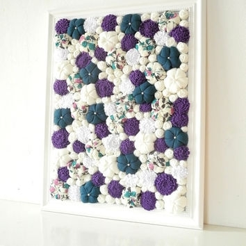 Baroque Framed Art Fabric Flower Wall From Mapano On Etsy Inside Purple Fabric Wall Art (View 2 of 15)