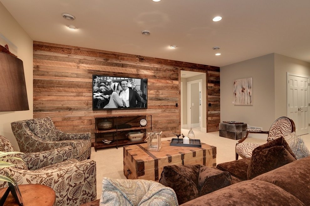 Basement Accent Wall Ideas Basement Traditional With Theater Regarding Basement Wall Accents (View 1 of 7)