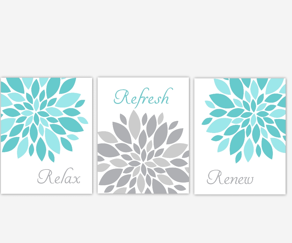 Bathroom Canvas Wall Art Aqua Teal Gray Grey Relax Refresh Renew Intended For Bathroom Canvas Wall Art (Image 3 of 15)
