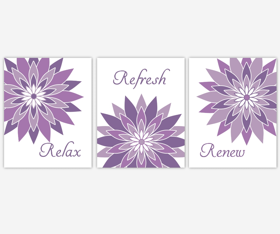 Bathroom Canvas Wall Art Purple Lavender Relax Refresh Renew With Bathroom Canvas Wall Art (Image 4 of 15)