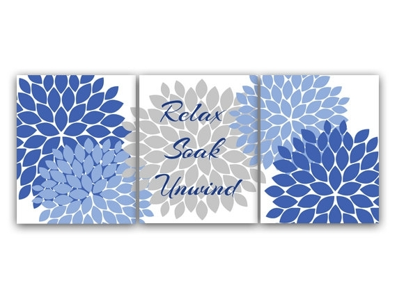 Bathroom Canvas Wall Art Relax Soak Unwind Navy Blue And Within Navy Canvas Wall Art (View 12 of 15)