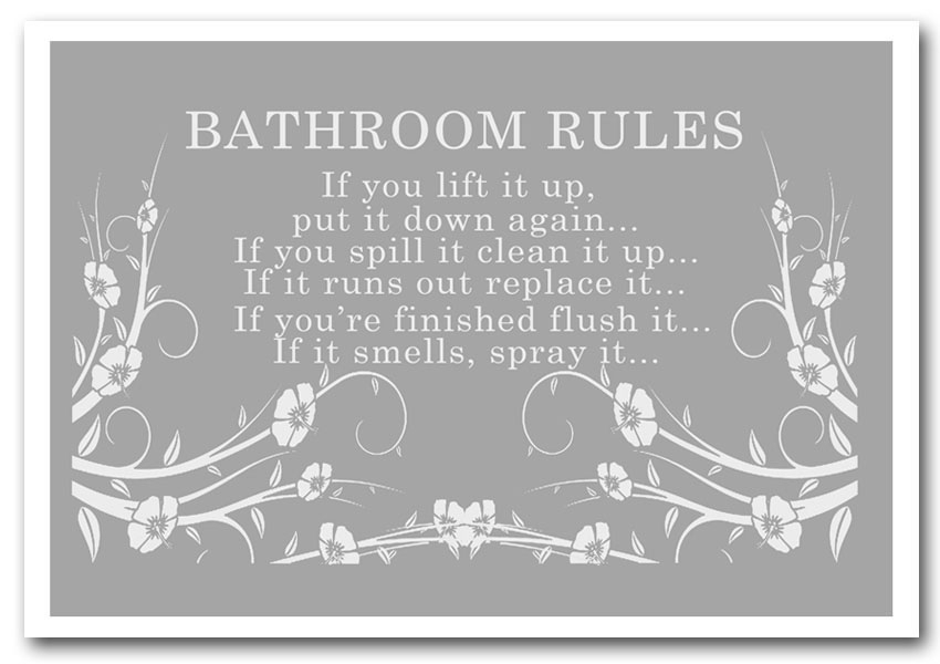 Bathroom Rules 2 Grey White Text Quotes Framed Art Giclee Art Print With Framed Art Prints For Bathroom (View 15 of 15)