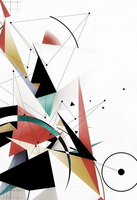 Bauhaus Inspired, A4, Geometric Art, Modern Abstract Art Pertaining To Abstract Graphic Wall Art (View 5 of 15)