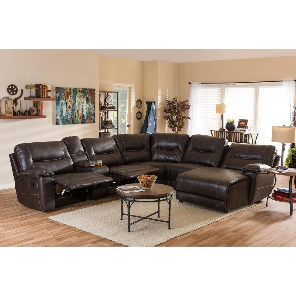 Baxton Studio Mistral 6 Piece Contemporary Brown Faux Leather For Home Depot Sectional Sofas (Image 2 of 10)