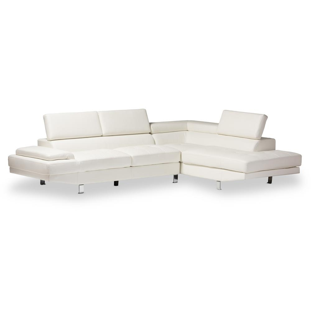 Baxton Studio Selma 2 Piece Modern White Faux Leather Upholstered For Home Depot Sectional Sofas (Image 3 of 10)
