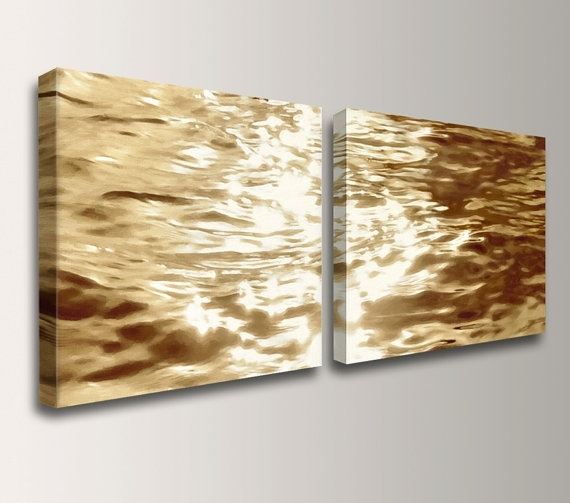 Beach Art Canvas Print Gold Water Reflections Wall Decor Inside Canvas Wall Art Pairs (View 13 of 15)