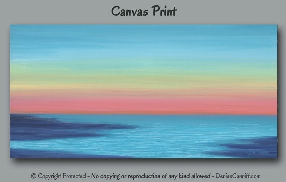 Beach Decor Sunset Painting Canvas Art Print Abstract Throughout Abstract Horizon Wall Art (View 5 of 15)
