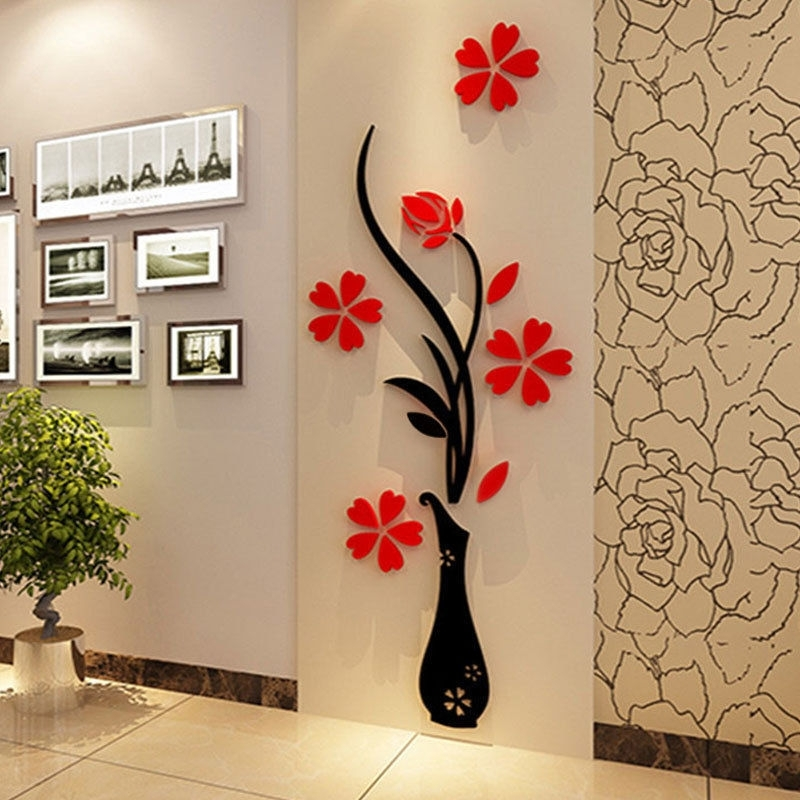 Beautiful 3D Flower Diy Mirror Wall Decals Stickers Art Home Room For Vinyl Stickers Wall Accents (View 9 of 15)