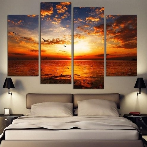 Beautiful Chilling Sunset Canvas 4 Pcs Wall Art | Wall Art Canvas Throughout Framed Canvas Art Prints (View 3 of 15)