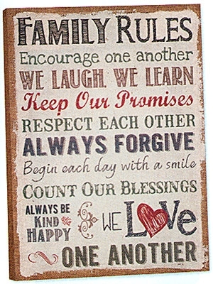 Beautiful Family Rules Wall Art | About My Blog Inside Canvas Wall Art Family Rules (Image 2 of 15)