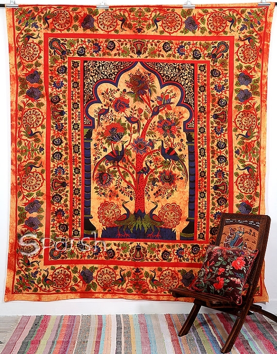 Beautiful Indian Tree Of Life Fine Art Wall Hanging Home Decor For Indian Fabric Art Wall Hangings (Image 6 of 15)