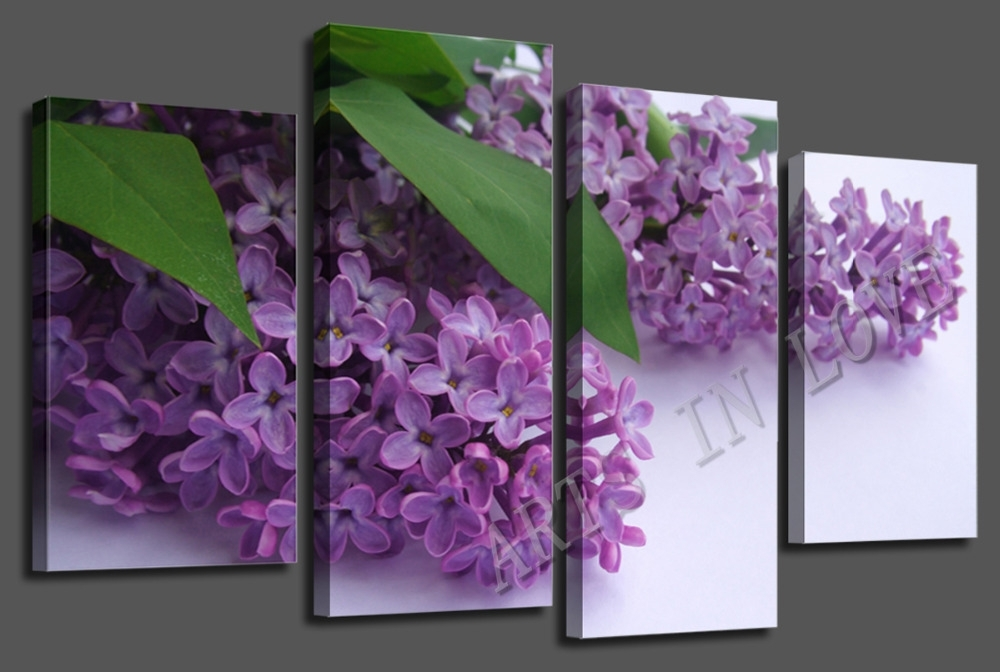Beautiful Purple Flower Canvas Wall Art For Living Or Bedroom Regarding Purple Flowers Canvas Wall Art (Image 2 of 15)